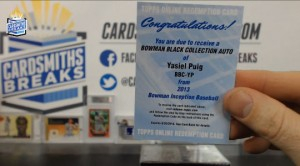 2013 Bowman Inception- Yasiel Puig - Bowman Black Collection Auto