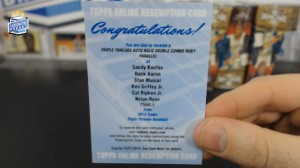 2013 Topps Triple Threads - Sandy Koufaz, Hank Aaron, Stan Musial, Ken Griffey Jr, Cal Ripken Jr & Nolan Ryan - Auto Relic Double Combo Ruby Parallel 1/1 - Redemption