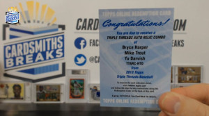 2013 Topps Triple Threads - Bryce Harper, Mike Trout, Yu Darvish - Auto Relic Combo Redemption
