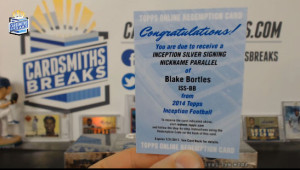 2014 Topps Inception - Blake Bortles - Silver Signatures Nickname Parallel Redemption